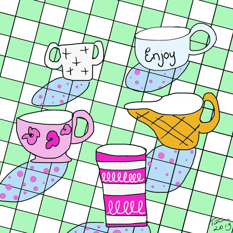 samling av te- och kaffekoppar